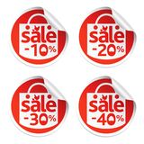 Easter sale stickers 10,20,30,40 with egg in the grass and chicken. Vrector illustration Royalty Free Stock Photo