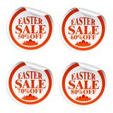 Easter sale stickers with eggs in the grass. Easter sale stickers 50,60,70,80 with eggs in the grass Royalty Free Illustration
