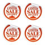Easter sale stickers 10,20,30,40 with eggs in the grass. Vector illustration Stock Illustration