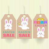 Easter Sale Tag with rabbit and egg Royalty Free Stock Photography