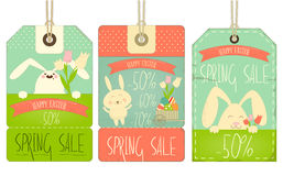 Easter Sale Tags. With Rabbits in Retro Style on White Background. Vector Illustration Royalty Free Stock Photo