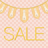 Easter sale text for  ad, promotion, poster, flier, blog, article, social media. Pale dirty rose polka dots background with decora Royalty Free Stock Photo