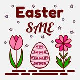 Easter sale theme. Flat icons of a painted egg and two flowers. Can be used as a greeting card, invitation, banner Stock Image