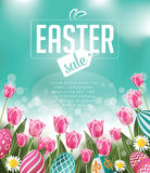 Easter sale tulips eggs and text Stock Photo