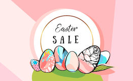 Easter sale tulips eggs and text EPS 10 vector royalty free stock illustration for greeting card, ad, promotion, poster Royalty Free Stock Image