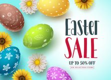 Easter sale vector banner design with colorful eggs and flowers for shopping discount. Promotion. Easter background template with space for text. Vector Stock Images