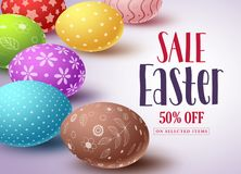 Easter sale vector banner design and template with colorful eggs. And sale text in white background for easter celebration shopping discount promotion. Vector Stock Photo
