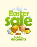 Easter sale vector design with basket and colored eggs, pastry, honey and flowers Royalty Free Stock Image