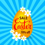Easter sale vector illustration with egg, flowers on a sunburst background Royalty Free Stock Photos