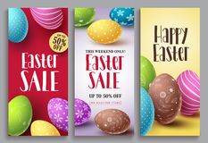 Easter sale vector poster set with colorful eggs elements for retail discount. Promotion. Easter background template with space for text. Vector illustration Royalty Free Stock Photography