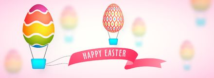 Free Easter Sale Web Banner With Painted Eggs And Hotair Balloon. Royalty Free Stock Photo - 113291755