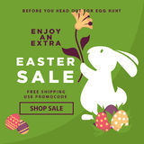 Easter sale web poster template of vector eggs and bunny rabbit Royalty Free Stock Image