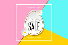 Easter Sale this weekend only special offer banner wit easter egg, flowers and handwritten text design. Easter Sale this weekend only special offer banner wit Royalty Free Stock Image