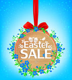 Easter sale wooden banner Royalty Free Stock Image