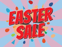 Easter sale, wording in comic speech bubble on burst background Royalty Free Stock Image