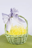 Easter Scene. Pretty easter basket with yellow hay on green mat royalty free stock photos
