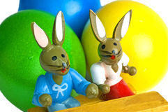 Easter scene. With painted eggs and bunnies royalty free stock photography
