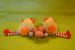 Easter scene with chick  and eggs Royalty Free Stock Image