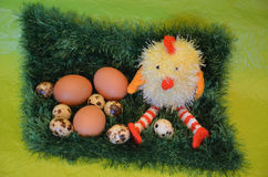 Easter scene with chick  and eggs in the  meadow. Stock Photos