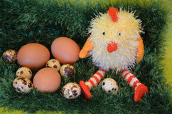 Easter scene with chick  and eggs Stock Photo