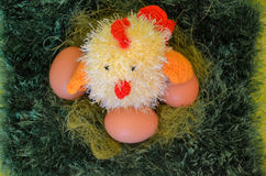 Easter scene with chick  in the  meadow. Royalty Free Stock Image