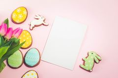 Easter scene with colored eggs Royalty Free Stock Photos