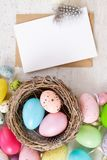 Easter colored eggs stock photography
