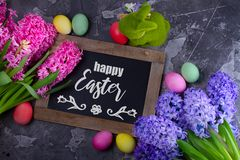 Easter scene with colored eggs stock photo