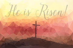 Easter scene with cross. Jesus Christ. Polygonal vector design. Stock Photography
