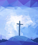 Easter scene with cross. Jesus Christ. Polygonal vector design. Royalty Free Stock Photo