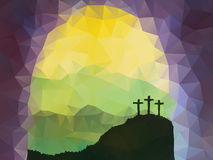 Easter scene with cross. Jesus Christ. Polygonal vector design. Stock Images