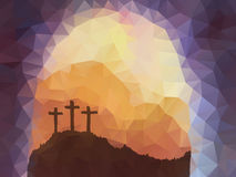 Easter scene with cross. Jesus Christ. Polygonal vector design. Royalty Free Stock Photography