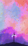 Easter scene with cross. Jesus Christ. Watercolor vector illustr Royalty Free Stock Photo