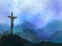 Easter scene with cross. Jesus Christ. Watercolor vector illustr Royalty Free Stock Photos