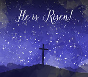 Easter scene with cross. Jesus Christ. Watercolor vector illustr Royalty Free Stock Image
