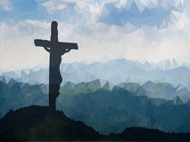 Easter scene with cross. Jesus Christ. Watercolor vector illustr Royalty Free Stock Photo