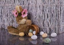 Easter scene. Little bunny with basket sleeping. Stock Photos