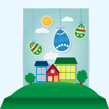 Easter scene with paper eggs and house Royalty Free Stock Images