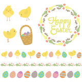 Easter scrapbook set - labels, ribbons and other elements. Vector illustration. Royalty Free Stock Photo