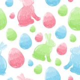Easter scribble eggs and bunnies seamless pattern Royalty Free Stock Photo