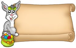 Easter scroll with cute bunny Royalty Free Stock Photography