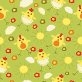 Easter seamless. Kid Easter seamless with stylized chicks Stock Images