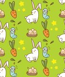 Easter seamless background with bunny, egg and carrot vector illustration