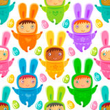 Easter Seamless background with Bunny kids Stock Photos