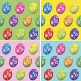 Easter seamless background of colored eggs. Set of 4 seamless easter backgrounds with colored eggs in various colours royalty free illustration