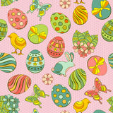 Easter seamless background. Cute Easter seamless background with painted eggs and other holiday symbols Royalty Free Stock Image