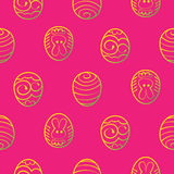 Easter seamless background. Decorated eggs on a red background Royalty Free Stock Photo