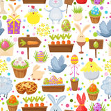 Easter seamless background.Religious holiday pattern from rabbit, pigeon, colored eggs, chickens and other traditional. Symbols of Easter.Cartoon style vector Stock Photo