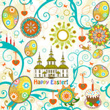 Easter seamless background. Vector illustration. Easter seamless background with church and flowers Royalty Free Stock Photography
