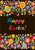 Easter seamless floral border with painted eggs Royalty Free Stock Image